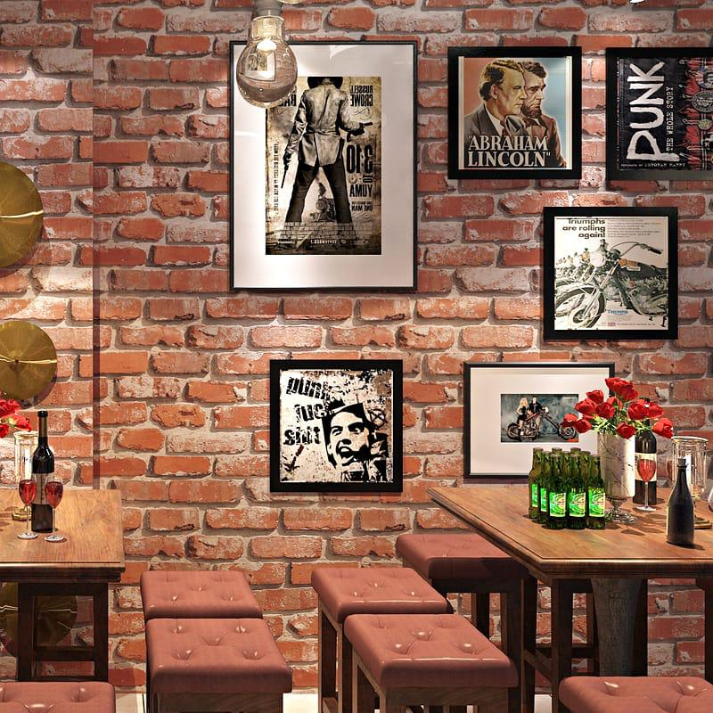 Rustic red brick effect wallpaper