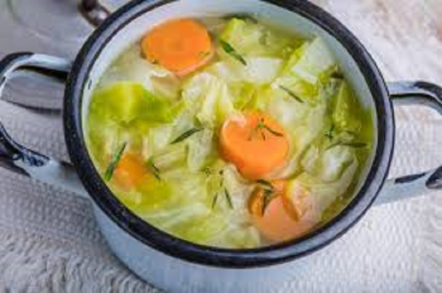 cabbage soup in a pan